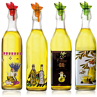 Бутылка стеклянная для масла Прованс 1л. с дозатором в ассортименте