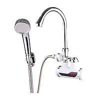 Проточный водонагреватель электрический кран ZERIX ELW08-EW LCDэкран для кухни и ванны нижние подключение