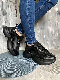 Універсальні кросівки жіночі чорного кольору зі шкіри та замші, розміри 36, 37, 38, 39, 40, 41