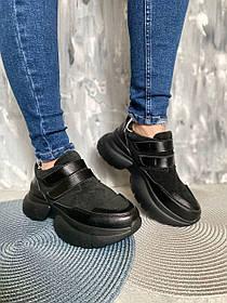 Чорні жіночі кросівки з замші без шнурків, розміри 36, 37, 38, 39, 40, 41