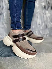Бомбические замшеві кросівки з високою білою підошвою і шкіряними вставками, розміри від 36 до 41