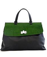 Женская  сумка из натуральной кожи фабричная (отшита в Италии) черного цвета с зеленой вставкой, на клапане