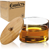 Банка стеклянная 700мл с бамбуковой крышкой для меда