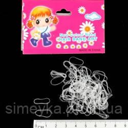 Резинка для волос силиконовая тонкая (мини) белая прозрачная