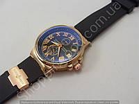 Женские часы Ulysse Nardin K20132 золотистые на черном силиконовом ремешке календарь стандартная застежка