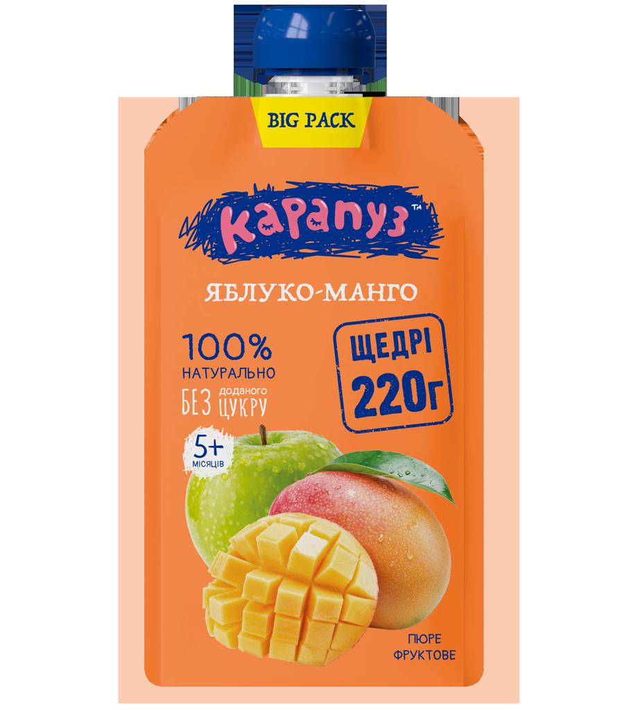 Пюре КАРАПУЗ яблоко-манго 220г Doy-Pack с 5 мес