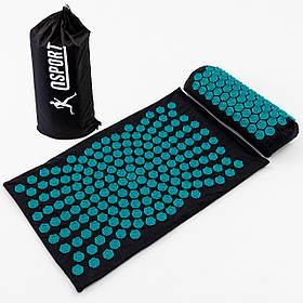 Масажний килимок і валик (аплікатор Кузнєцова) масажер для спини/шиї/тіла OSPORT Lotus Sun Mat Eco (apl-029)