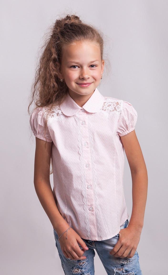 Школьная блузка на короткий рукав мод. 7040