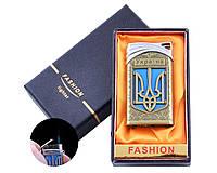 Запальничка в подарунковій коробці Україна (Гостре полум'я) №UA-20 Gold