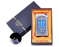 Зажигалка в подарочной коробке Украина (Острое пламя) №UA-20 Silver