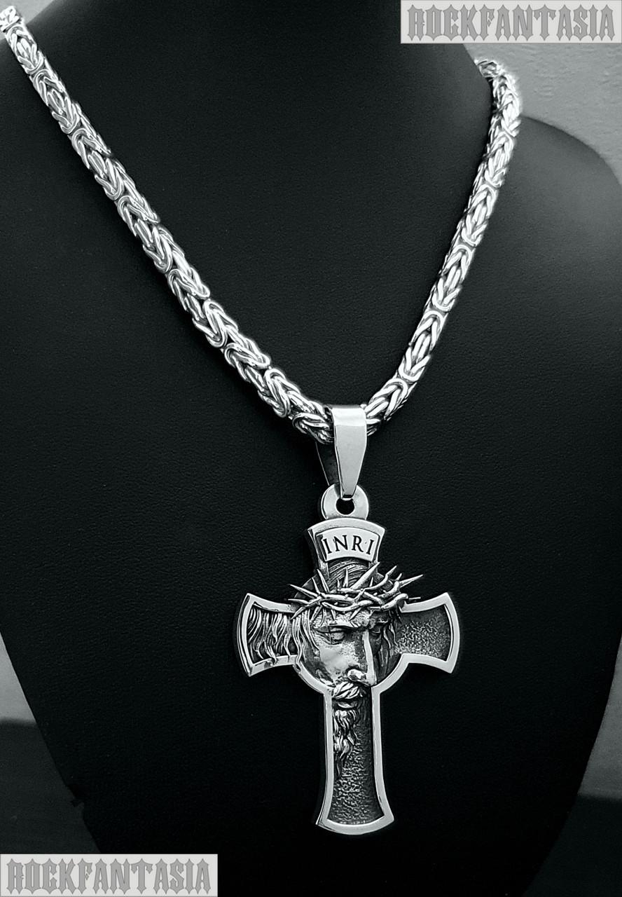 Срібна чоловіча ланцюжок лисячий хвіст візантійська, хрестик чоловічий Ісус