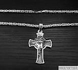 Срібна чоловіча ланцюжок лисячий хвіст візантійська, хрестик чоловічий Ісус, фото 2