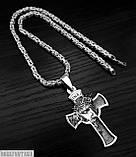 Срібна чоловіча ланцюжок лисячий хвіст візантійська, хрестик чоловічий Ісус, фото 3