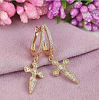 Сережки хрестики Xuping довжина 3.5см медичне золото позолота 18К цирконій с926
