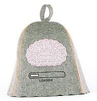 Шапка для сауны с вышивкой 'Вынос мозга', серый войлок, Saunapro