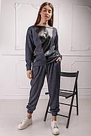 Женский костюм Статус с кожаными вставками 42-52 размер синий и оливковый цвет