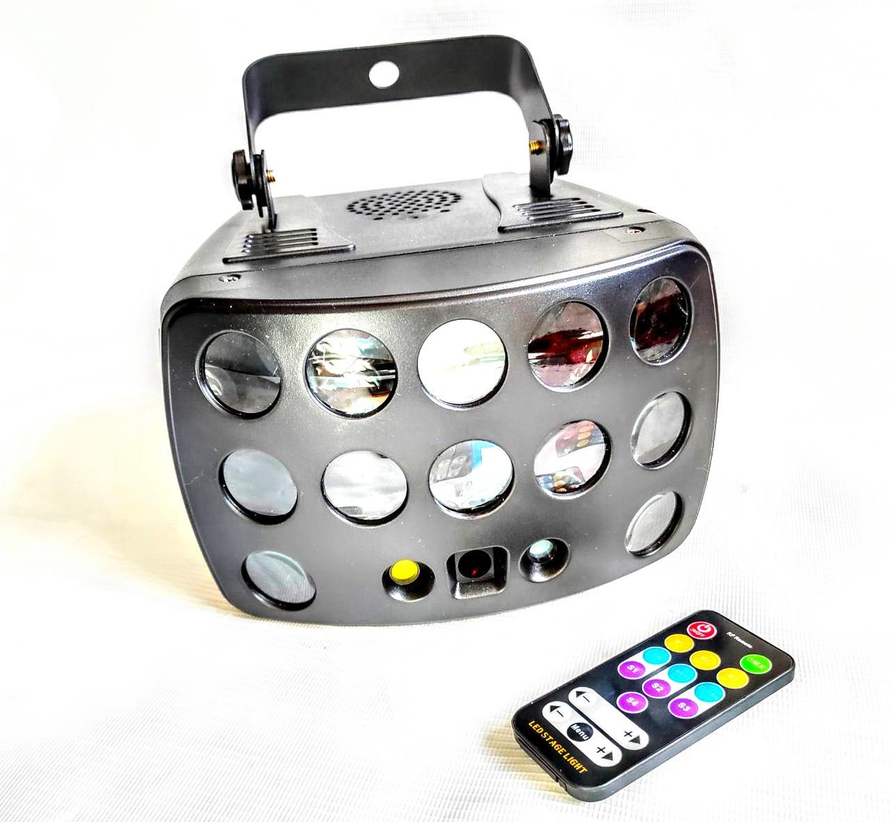 Led прибор RGB 3в1 Лазерный проектор, Стробоскоп, Диско шар, Трафареты