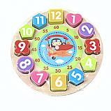 Детские обучающие часы, Развивающая обучающая деревянная игра Часы Fun Game в коробке Gram, фото 2