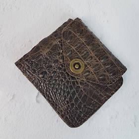 Портмоне натуральная кожа, коричневая с тиснением под крокодила