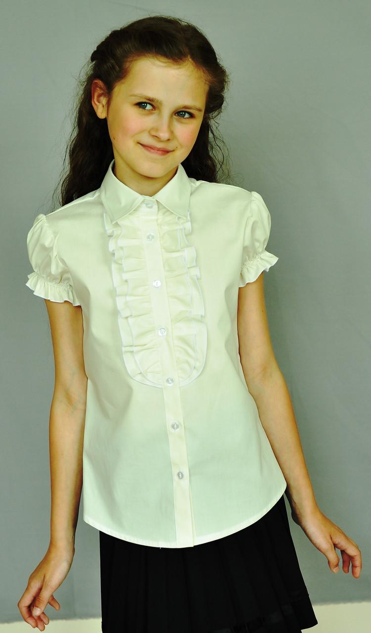 Шкільна нарядна блузка Світ блуз на короткий рукав мод. 2060