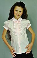 """Блуза для дівчинки з декором на поличці """"Світ блуз"""" мод.2042 біла, фото 1"""