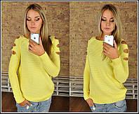 Женская кофточка с вырезами на плечах турция желтого цвета