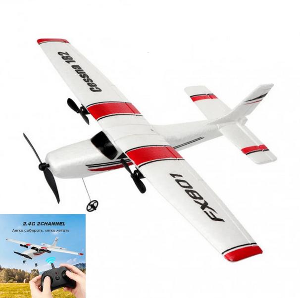 Самолет FX801 Cessna 182 радиоуправляемый 2-х канальный 2,4 ГГц   Модель Сесна на радиоуправлении с пультом