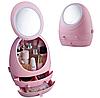 Органайзер для косметики W-2 с LED зеркалом 4 секции Розовый   Кейс для косметики Бьюти Бокс, фото 2