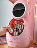 Органайзер для косметики W-2 с LED зеркалом 4 секции Розовый   Кейс для косметики Бьюти Бокс, фото 3