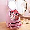 Органайзер для косметики W-2 с LED зеркалом 4 секции Розовый   Кейс для косметики Бьюти Бокс, фото 4