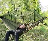 Гамак туристичний з москітною сіткою 270х140 см   Гамак садовий антимоскітна сітка складаний, фото 3