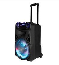 Мобильная колонка Temeisheng TMS-012 1900 Вт 2 микрофона   Портативная акустика с подсветкой автономная