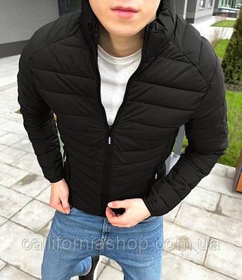 Куртка мужская стеганая черная короткая без капюшона демисезонная