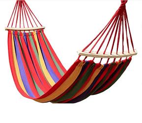 Гамак с планкой для отдыха с чехлом 190х100см до 150 кг с чехлом   Гамак-качели подвесной хлопок для дачи сада