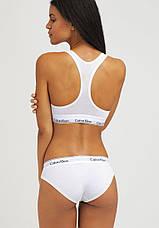 Комплект нижньої жіночої білизни Calvin Klein Modern Cotton топ і сліпи | Біла жіноча білизна, фото 2