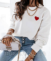 Світшот з сердечком на дівчинку На ріст від 145см до 170см в стилі ОVERSIZE