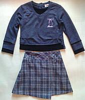 Комплект детский серый: юбка и трикотажная блуза