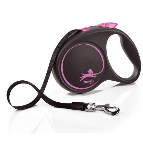 Поводок-рулетка Flexi зі стрічкою Design L 5 м / 50 кг рожева