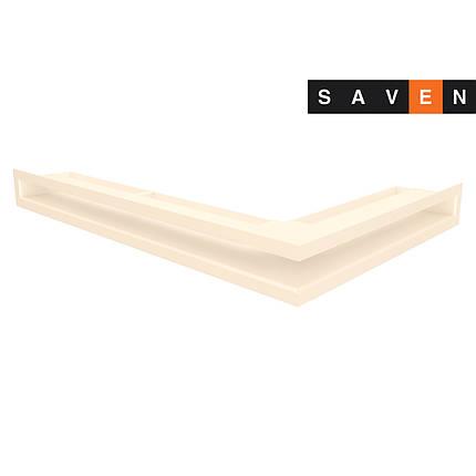 Вентиляційна решітка для каміна кутова ліва SAVEN Loft Angle 60х400х600 кремова, фото 2