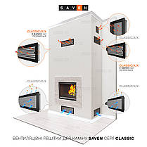 Вентиляционная решетка для камина SAVEN 11х17 белая, фото 3