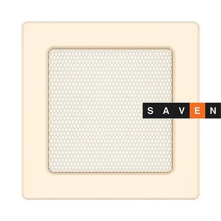 Вентиляційна решітка для каміна SAVEN 17х17 кремова, фото 2