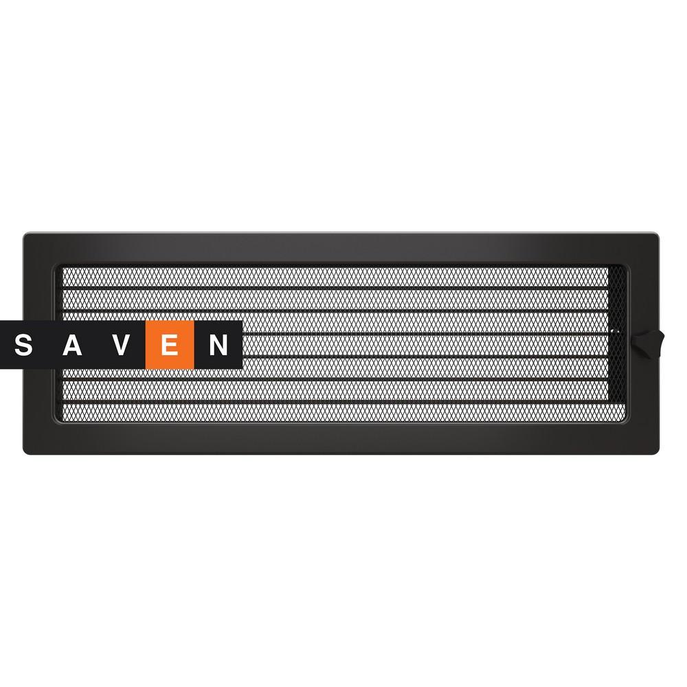 Вентиляційна решітка для каміна SAVEN 17х49 графітова з жалюзі