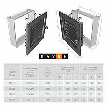 Вентиляційна решітка для каміна SAVEN 17х49 графітова з жалюзі, фото 3