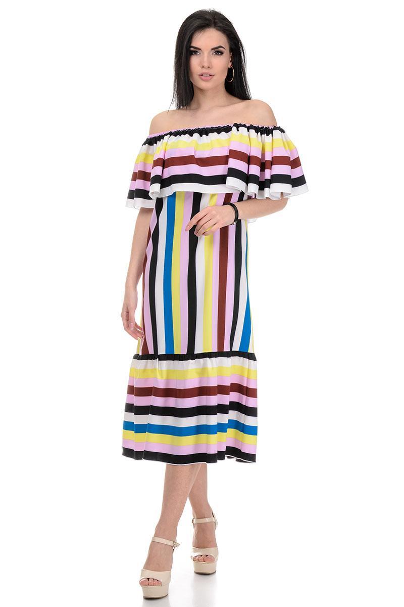 Сукня «Ксана», р-ри S-L, арт.368 смужка рожевий