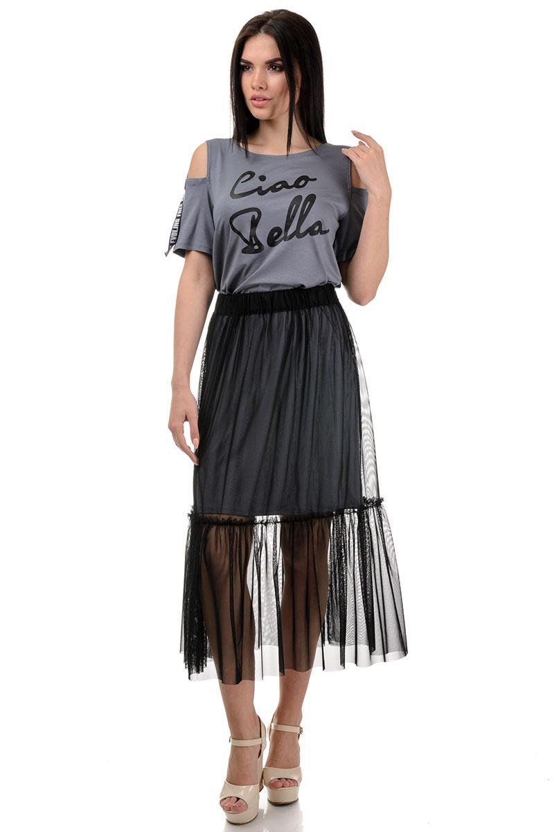 Платье «Белла», р-ры S-ХL, арт.379 серый