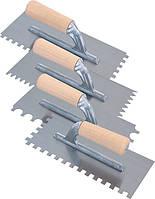 Шпатель зубчатый 28х12 см, V -образный зубец 3 мм