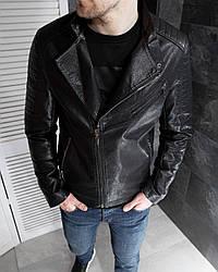 Мужская кожанка осенняя молодежная (черный) легкая стильная куртка на молнии А2102