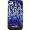 Чехол-накладка для Apple iPhone 4/4S, Just Cavalli, леопард, синий /case/кейс /айфон