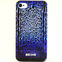 Чехол-накладка для Apple iPhone 4/4S, Just Cavalli, леопард, синий /case/кейс /айфон, фото 1