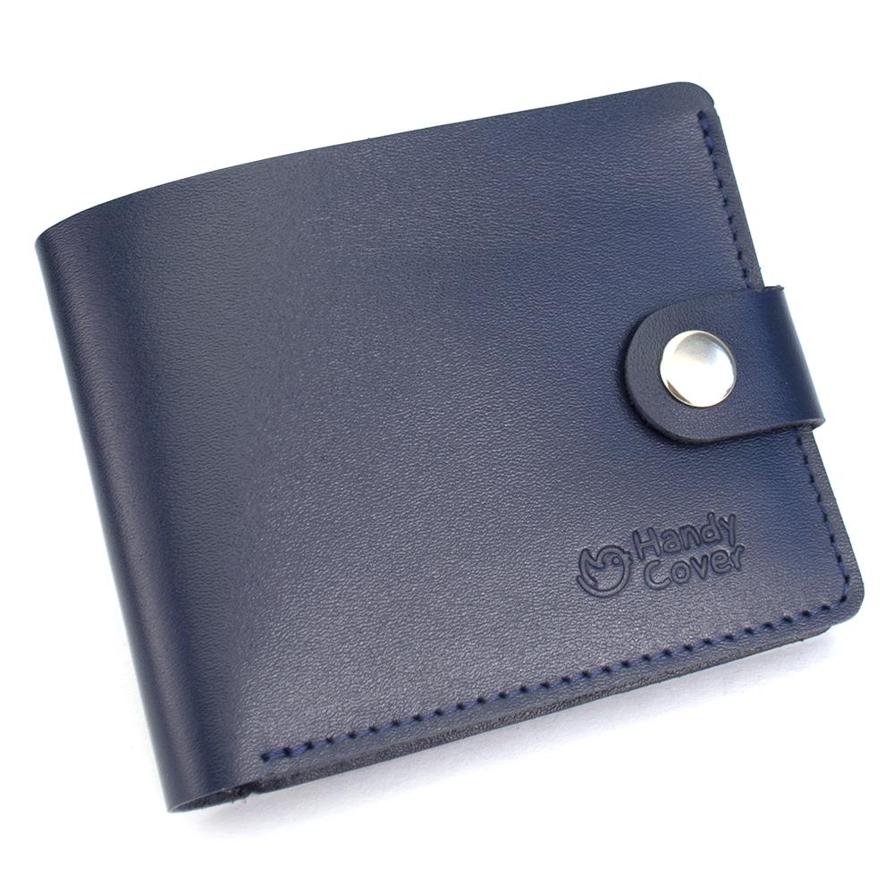 Портмоне чоловіче шкіряне на кнопці Handycover HC0042 синє